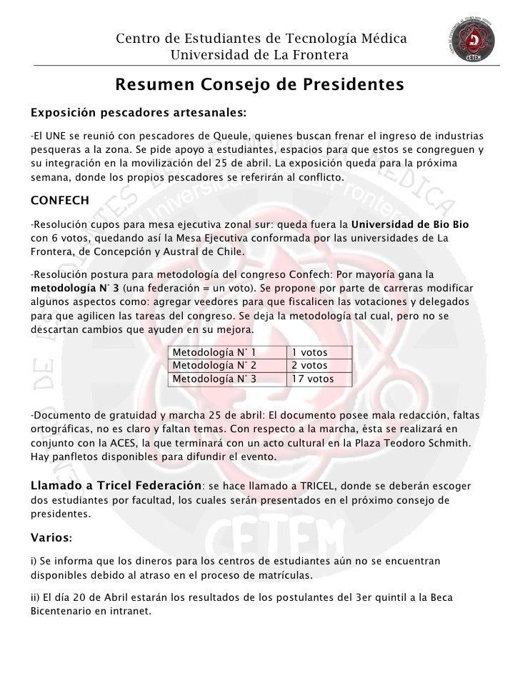 Centro de Estudiantes de Tecnología Médica                          Universidad de La Frontera                 Resumen Con...