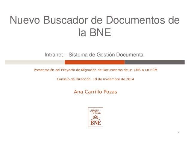 Nuevo Buscador de Documentos de la BNE Intranet – Sistema de Gestión Documental Presentación del Proyecto de Migración de ...