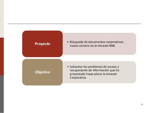 Nuevo buscador de documentos de la BNE: presentación del proyecto de migración de documentos de un CMS a un ECM. Ana Carrillo Pozas Slide 2