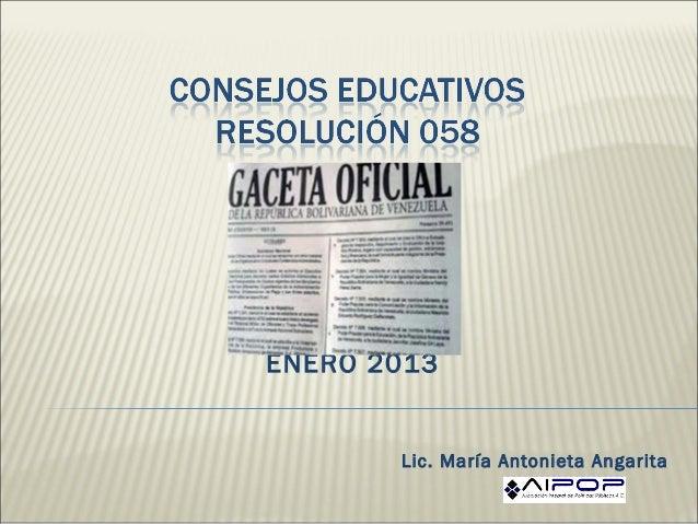 ENERO 2013       Lic. María Antonieta Angarita