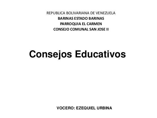 REPUBLICA BOLIVARIANA DE VENEZUELA        BARINAS ESTADO BARINAS         PARROQUIA EL CARMEN      CONSEJO COMUNAL SAN JOSE...