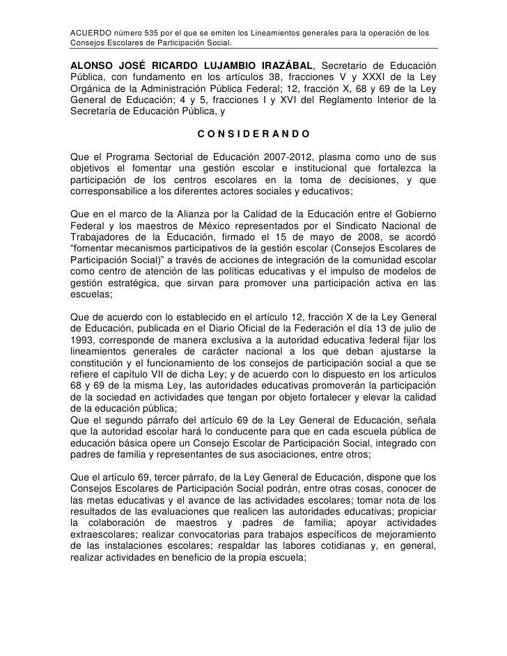 ACUERDO número 535 por el que se emiten los Lineamientos generales para la operación de los Consejos Escolares de Particip...
