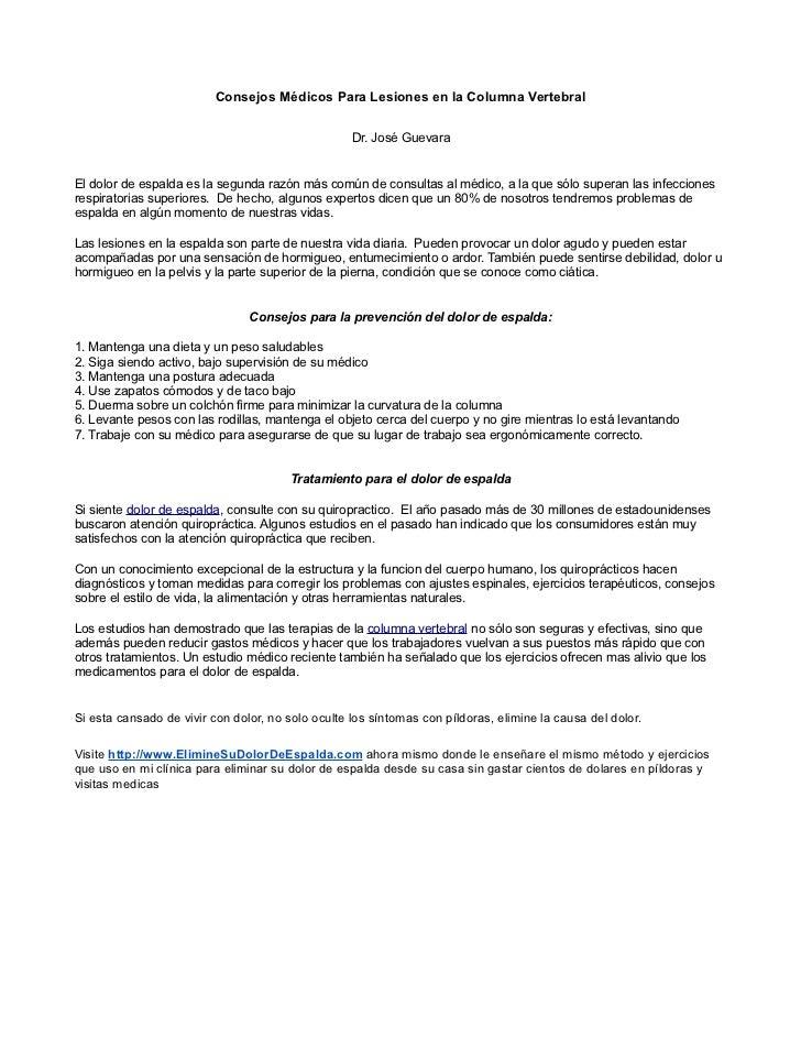 Consejos Médicos Para Lesiones en la Columna Vertebral                                                   Dr. José GuevaraE...