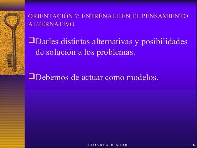 ORIENTACIÓN 7: ENTRÉNALE EN EL PENSAMIENTOALTERNATIVO Darles distintas alternativas y posibilidades  de solución a los pr...