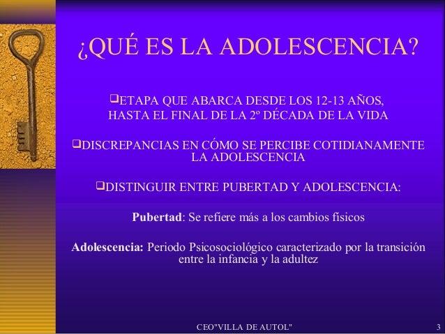 ¿QUÉ ES LA ADOLESCENCIA?       ETAPA QUE ABARCA DESDE LOS 12-13 AÑOS,       HASTA EL FINAL DE LA 2º DÉCADA DE LA VIDADIS...