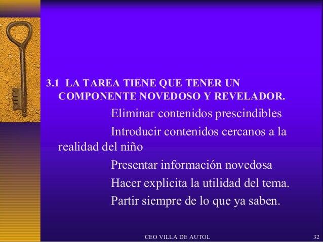 3.1 LA TAREA TIENE QUE TENER UN   COMPONENTE NOVEDOSO Y REVELADOR.           Eliminar contenidos prescindibles           I...