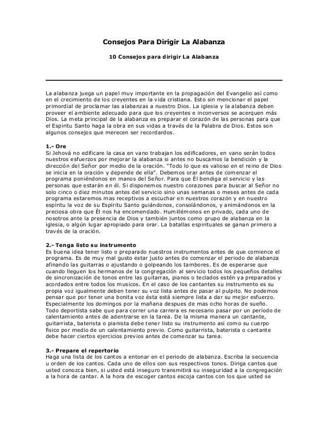 Consejos Para Dirigir La Alabanza                       10 Consejos para dirigir La AlabanzaLa alabanza juega un papel muy...