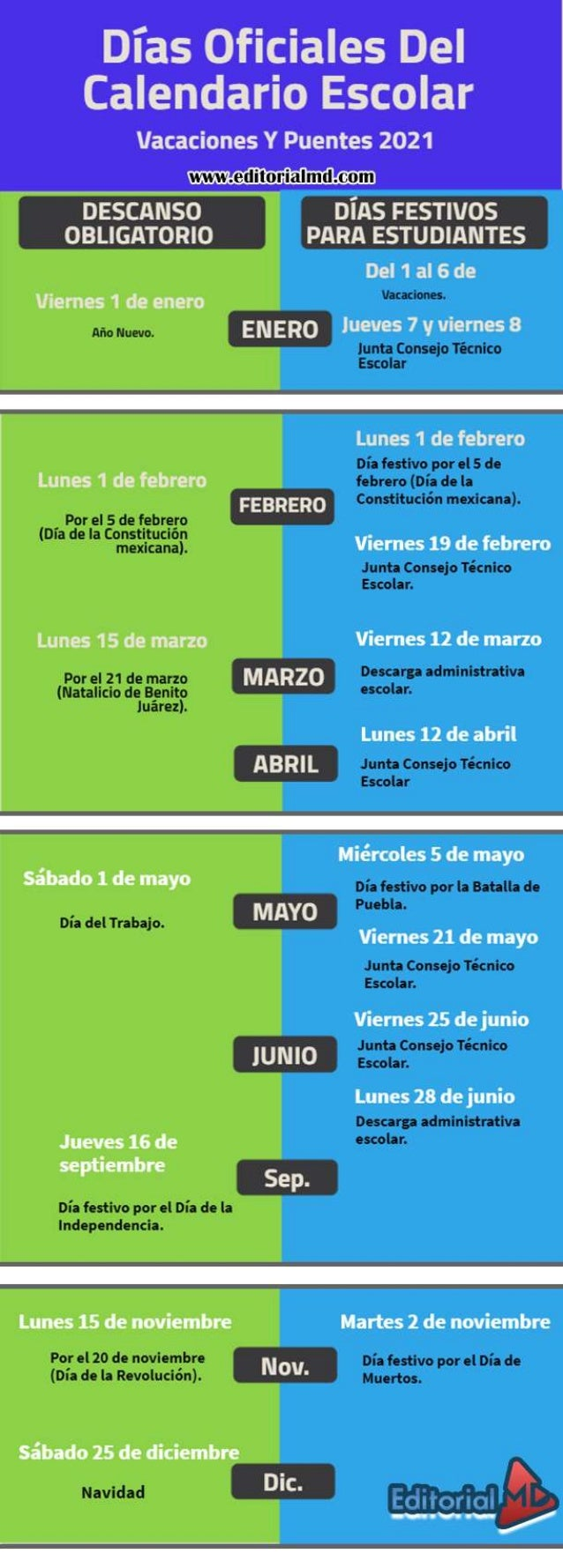 Consejos tecnicos  y dias oficiales 2021