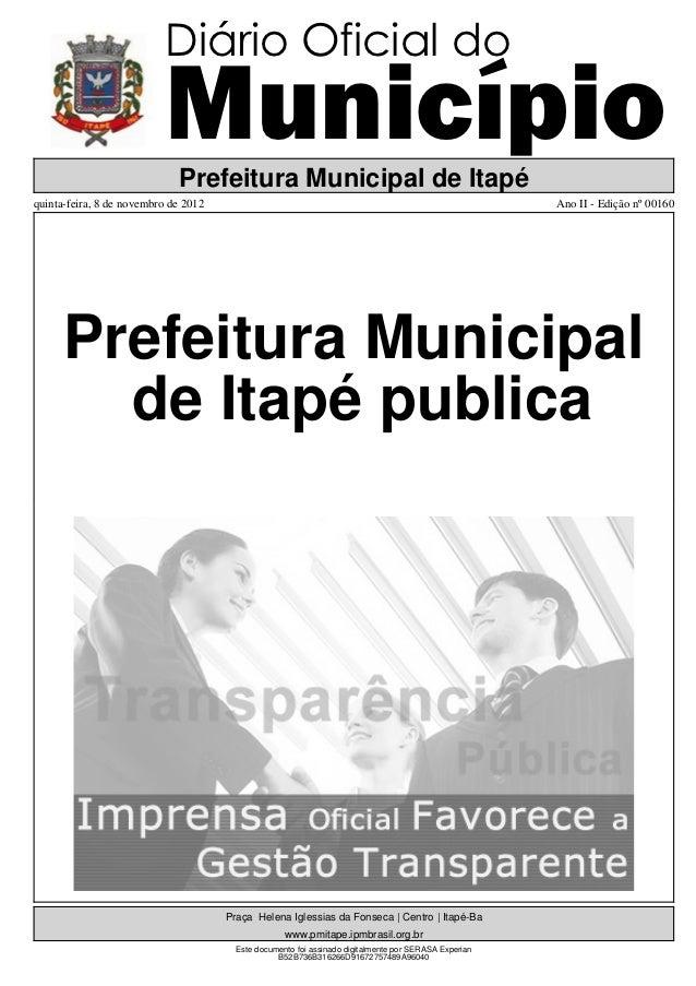 Diário Oficial do                          Município                             Prefeitura Municipal de Itapéquinta-feira...