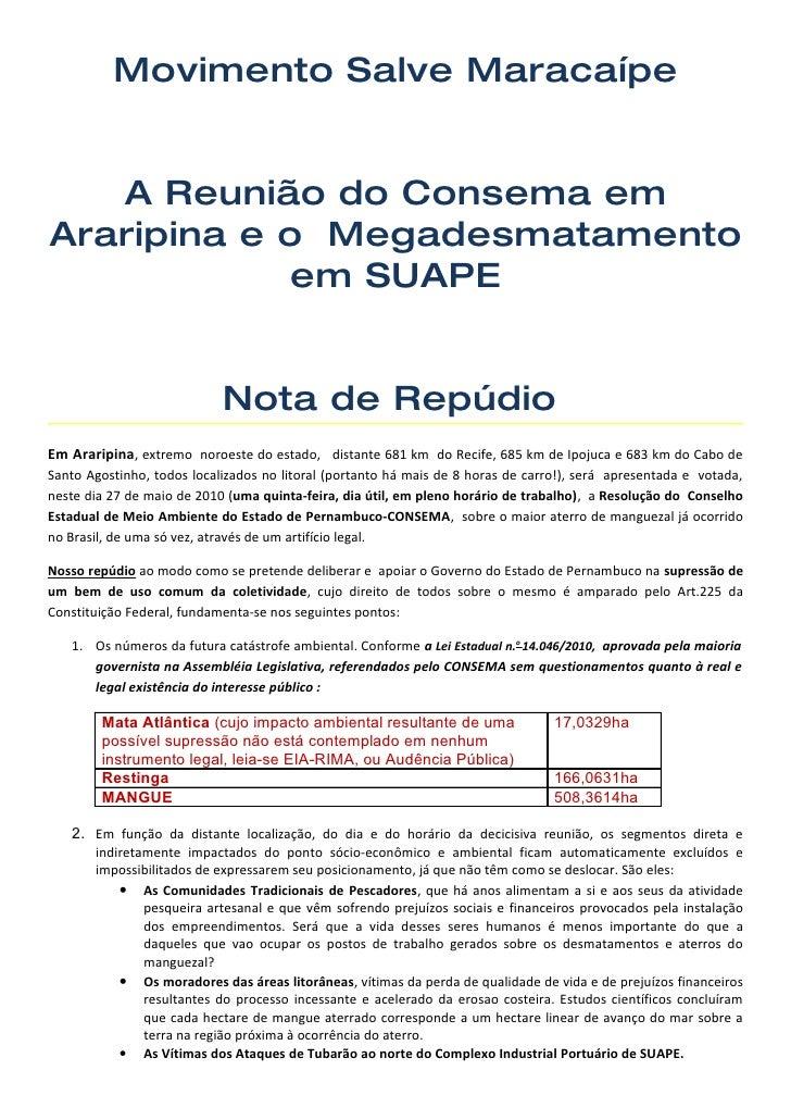 Movimento Salve Maracaípe      A Reunião do Consema em Araripina e o Megadesmatamento              em SUAPE               ...