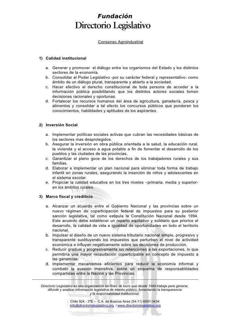 Fundación                                          Consenso Agroindustrial   1) Calidad institucional     a. Generar y pro...