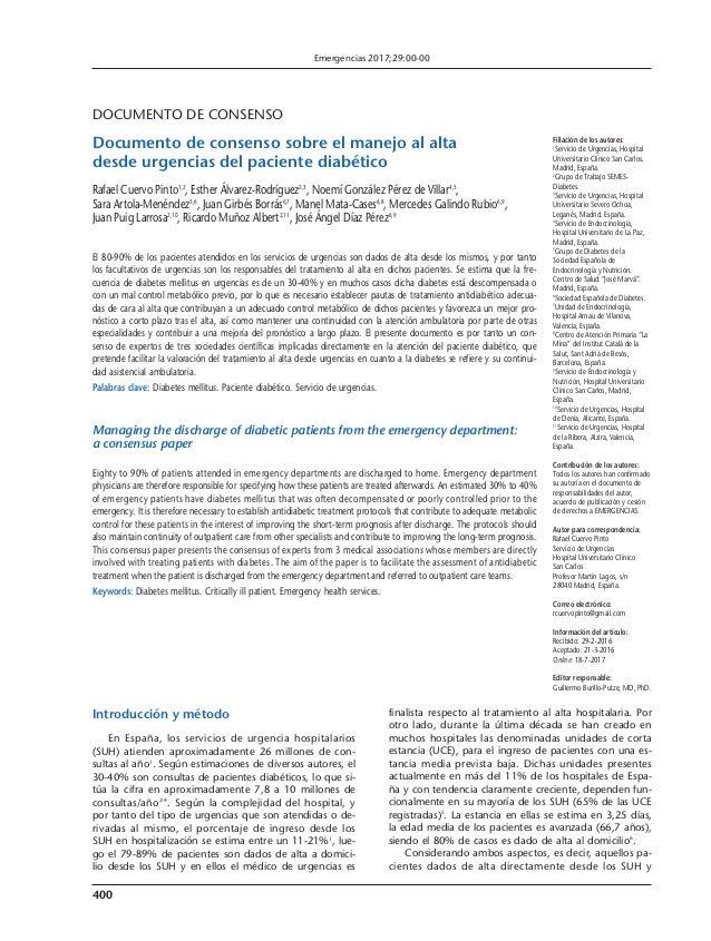 400 DOCUMENTO DE CONSENSO Documento de consenso sobre el manejo al alta desde urgencias del paciente diabético Rafael Cuer...