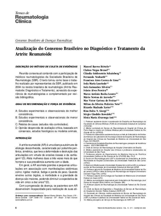 TEMAS DE REUMATOLOGIA CLÍNICA Consenso Brasileiro de Doenças Reumáticas: Atualização do Consenso Brasileiro no Diagnóstico...