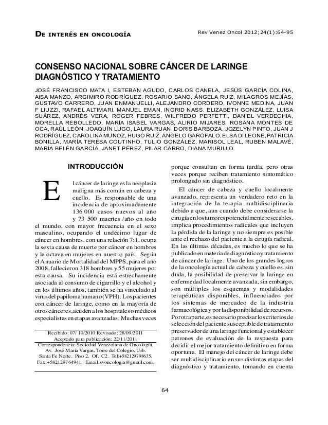 Consenso nacional de cancer de laringe
