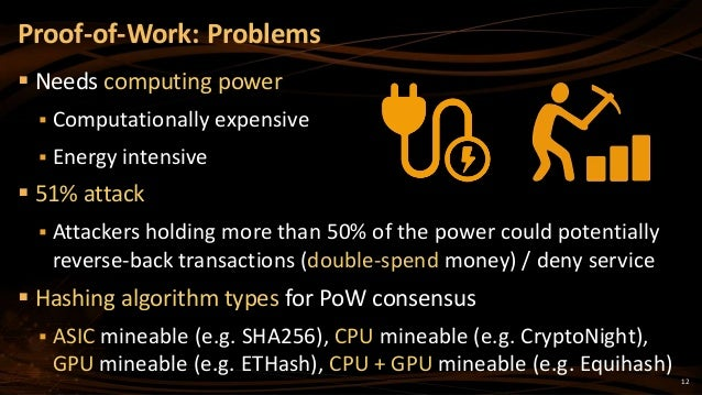 12  Needs computing power  Computationally expensive  Energy intensive  51% attack  Attackers holding more than 50% o...