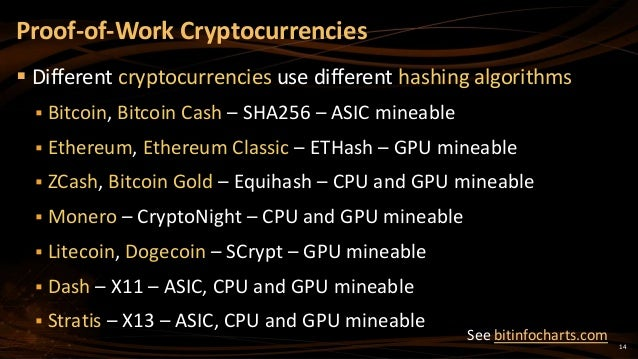 14  Different cryptocurrencies use different hashing algorithms  Bitcoin, Bitcoin Cash – SHA256 – ASIC mineable  Ethere...