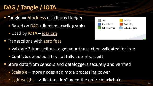 29  Tangle == blockless distributed ledger  Based on DAG (directed acyclic graph)  Used by IOTA – iota.org  Transactio...