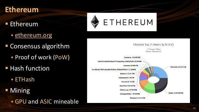 33  Ethereum  ethereum.org  Consensus algorithm  Proof of work (PoW)  Hash function  ETHash  Mining  GPU and ASIC ...
