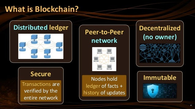 4 What is Blockchain? Distributed ledger Immutable Peer-to-Peer network Nodes hold ledger of facts + history of updates De...