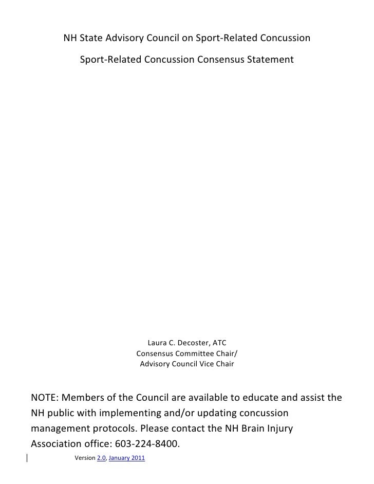 NH State Advisory Council on Sport-Related Concussion          Sport-Related Concussion Consensus Statement               ...