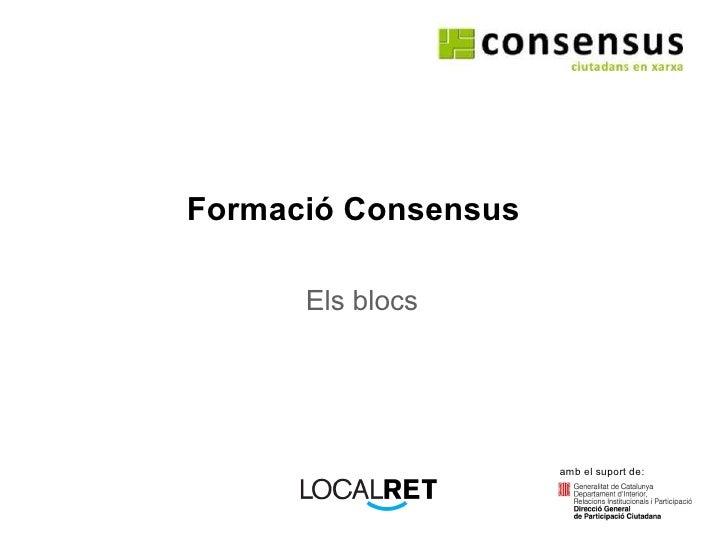 Formació Consensus Els blocs amb el suport de: