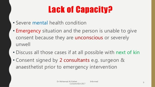 informed consent in emergency situation Consent to medical treatment - patient information  to enable them to make informed  emergency treatment 26 who gives consent for a minor if.