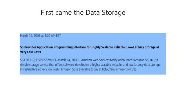 First came the Data Storage