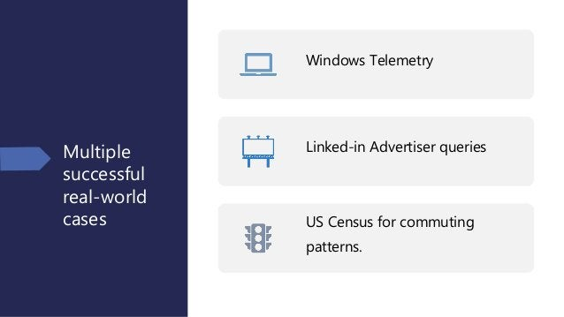 Multiple successful real-world cases Windows Telemetry Linked-in Advertiser queries US Census for commuting patterns.