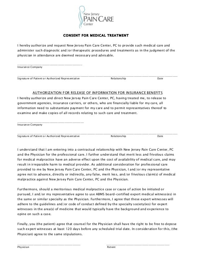 New Jersey Pain Care Center Patient Consent Form .