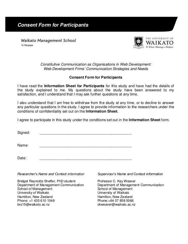 Consent Form For Participants