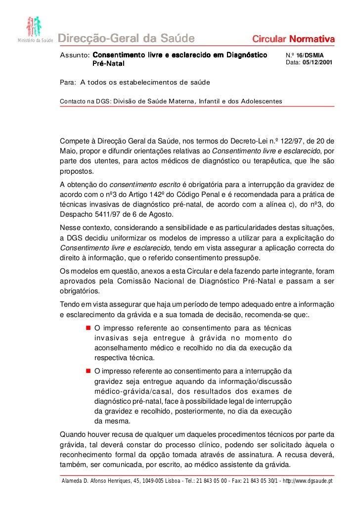 Ministério da Saúde   Direcção-Geral da Saúde                                                         Circular Normativa  ...
