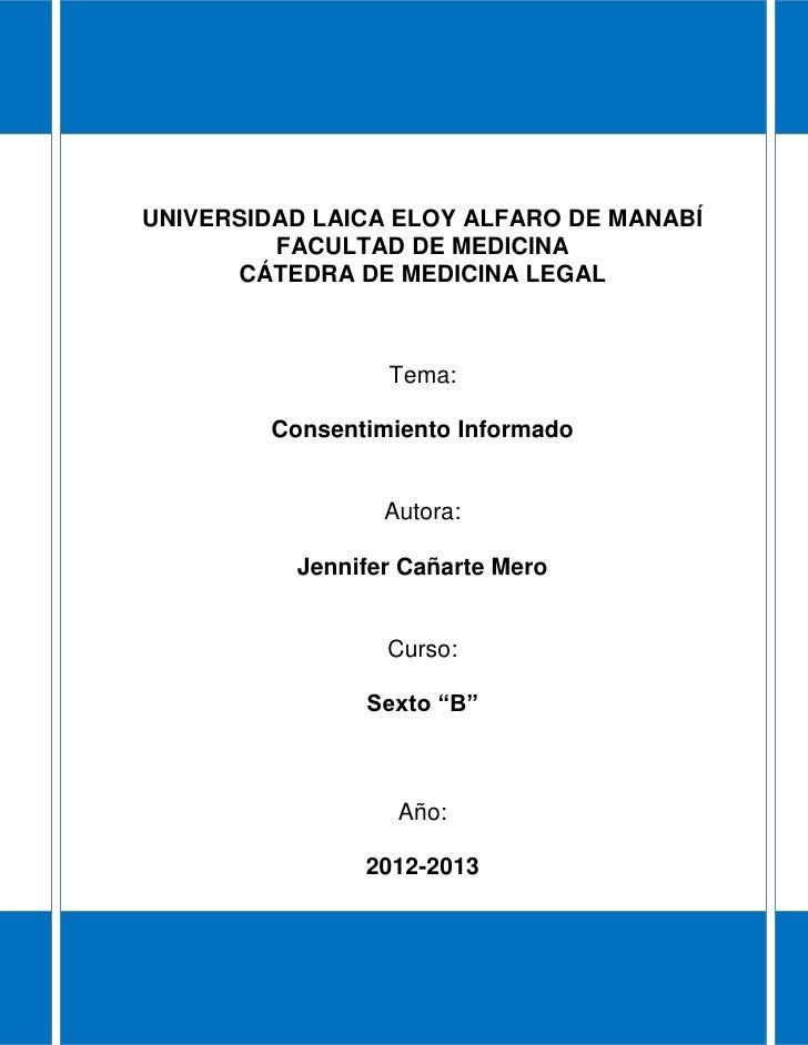UNIVERSIDAD LAICA ELOY ALFARO DE MANABÍ         FACULTAD DE MEDICINA      CÁTEDRA DE MEDICINA LEGAL                  Tema:...