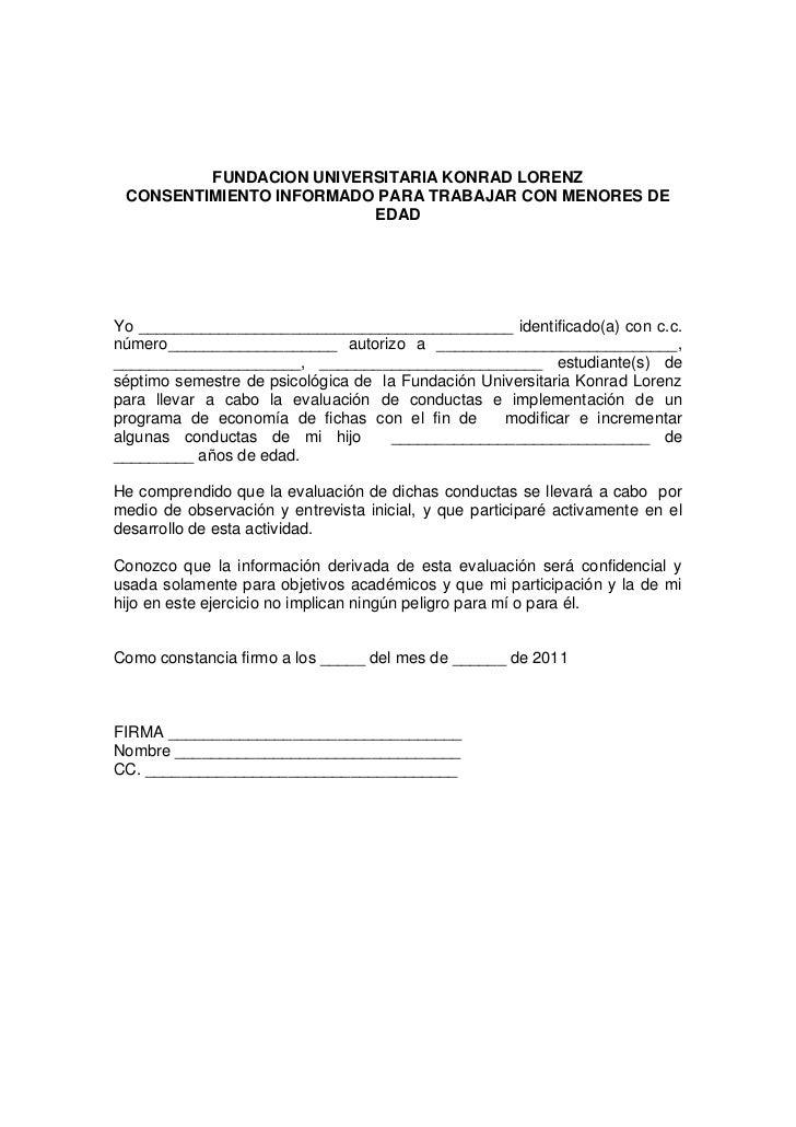 FUNDACION UNIVERSITARIA KONRAD LORENZ CONSENTIMIENTO INFORMADO PARA TRABAJAR CON MENORES DE                         EDADYo...