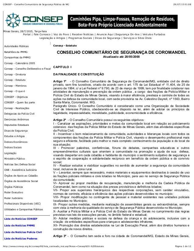 29/07/15 01:08CONSEP - Conselho Comunitário de Segurança Pública de MG Página 1 de 12http://www.consep.org.br/consep98/lis...