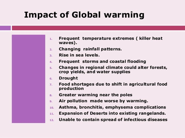 Consequences of global warming and climate change