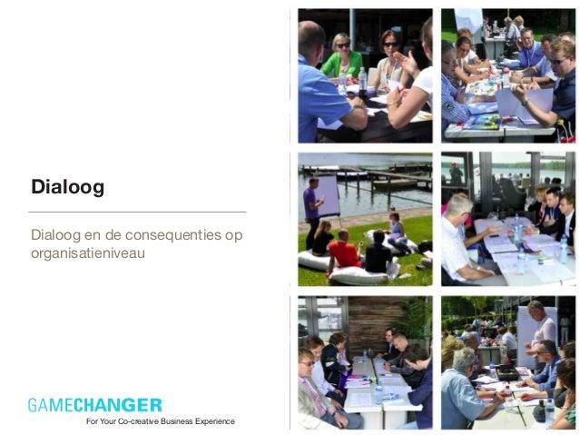 DialoogDialoog en de consequenties oporganisatieniveauFor Your Co-creative Business Experience