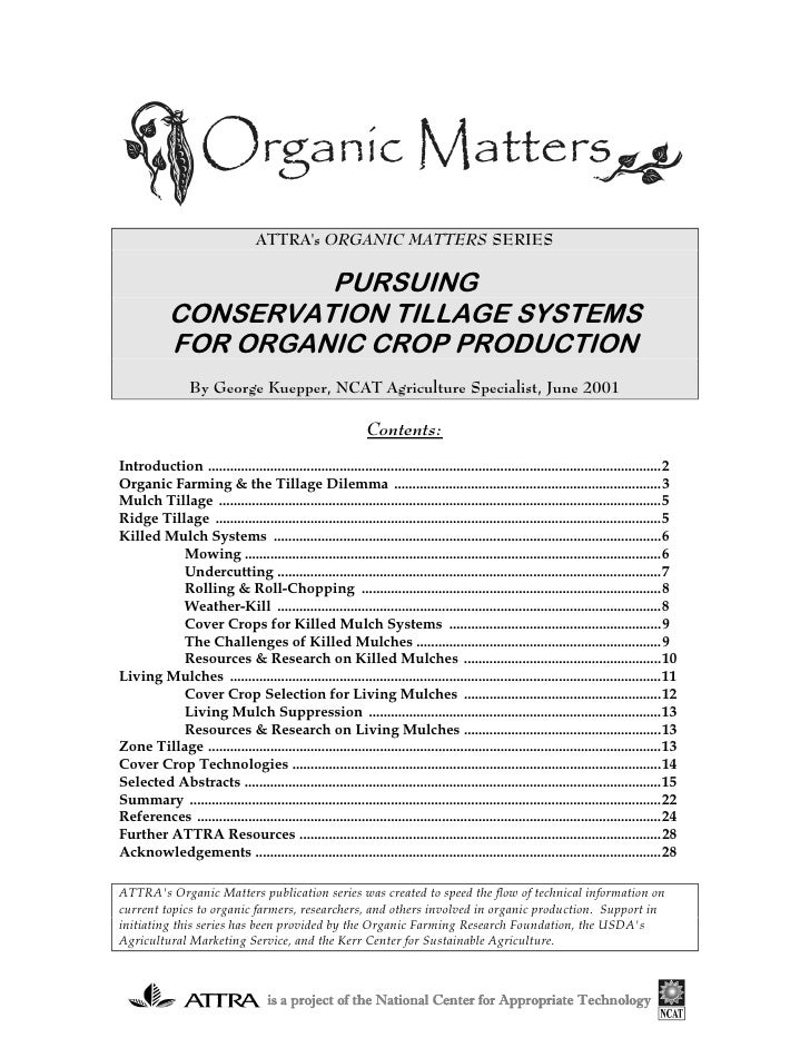 ATTRAs ORGANIC MATTERS SERIES                     PURSUING            CONSERVATION TILLAGE SYSTEMS            FOR ORGANIC ...