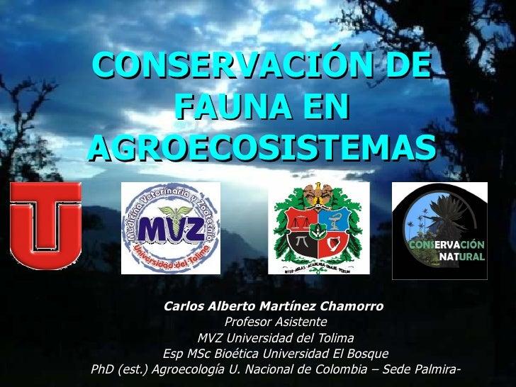 CONSERVACIÓN DE FAUNA EN AGROECOSISTEMAS Carlos Alberto Martínez Chamorro   Profesor Asistente MVZ Universidad del Tolima ...