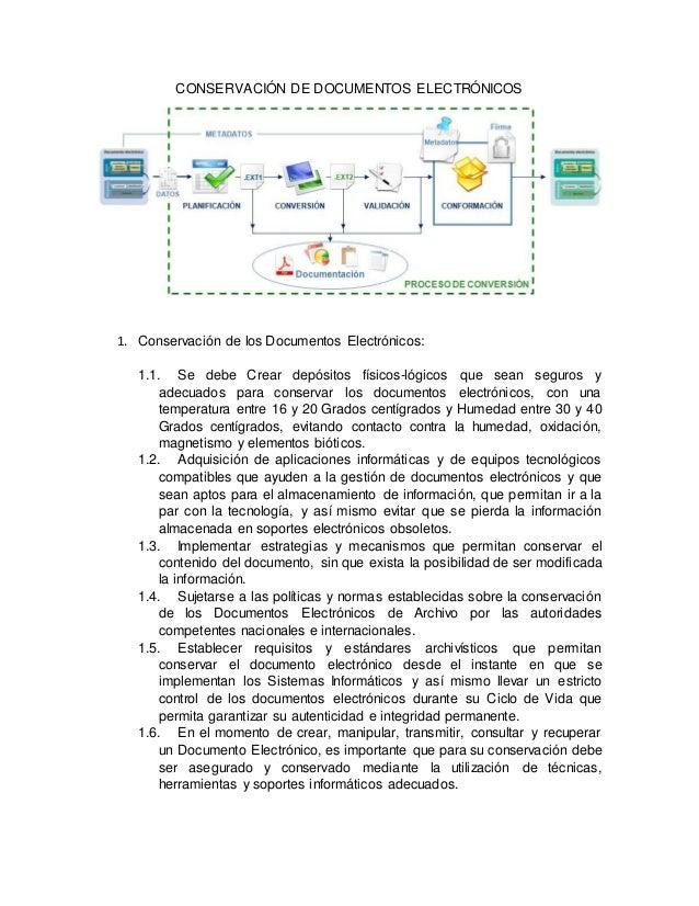 CONSERVACIÓN DE DOCUMENTOS ELECTRÓNICOS 1. Conservación de los Documentos Electrónicos: 1.1. Se debe Crear depósitos físic...