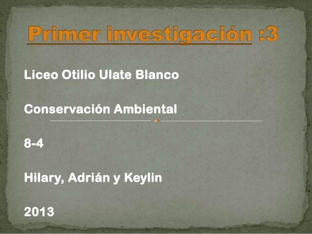 Liceo Otilio Ulate BlancoConservación Ambiental8-4Hilary, Adrián y Keylin2013