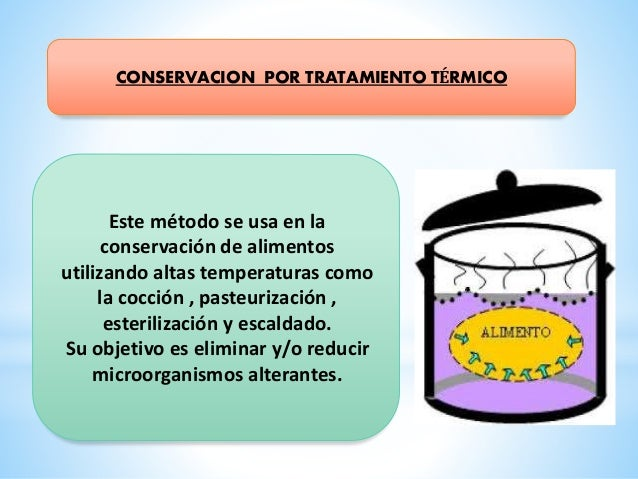 Este método se usa en la conservación de alimentos utilizando altas temperaturas como la cocción , pasteurización , esteri...
