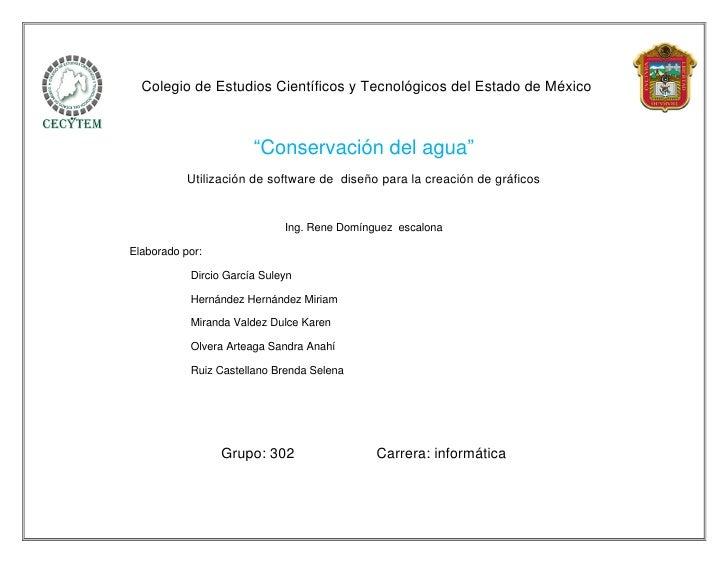 """Colegio de Estudios Científicos y Tecnológicos del Estado de México                       """"Conservación del agua""""         ..."""