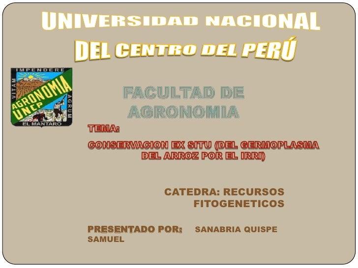 UNIVERSIDAD NACIONAL<br />DEL CENTRO DEL PERÚ<br />FACULTAD DE AGRONOMIA <br />TEMA: <br />CONSERVACION EX SITU (DEL GERMO...