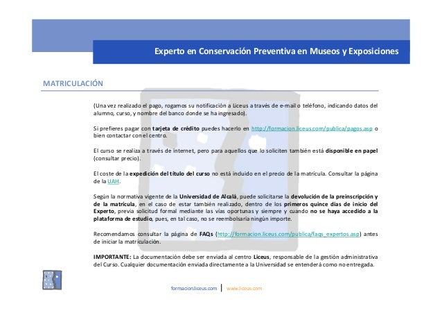 Curso on line de experto en conservaci n preventiva en for Banco 0081