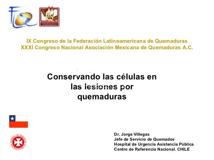 Conservando las células en las lesiones por quemaduras IX Congreso de la Federación Latinoamericana de Quemaduras XXXI Con...