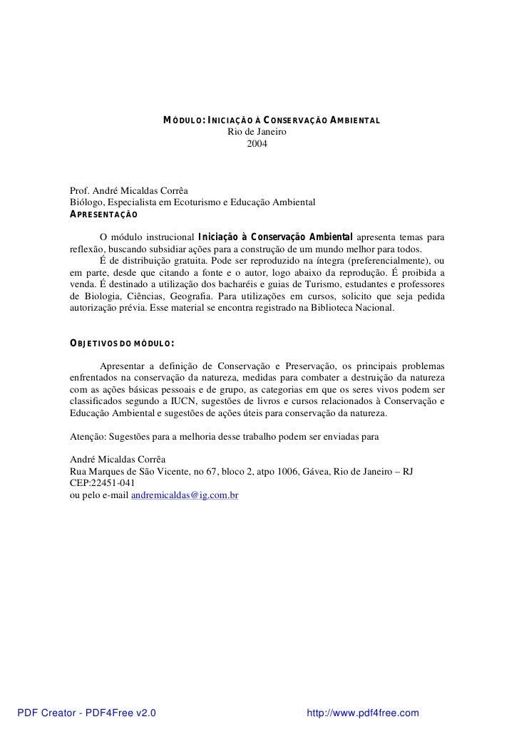 MÓDULO: INICIAÇÃO À CONSERVAÇÃO AMBIENTAL                                            Rio de Janeiro                       ...