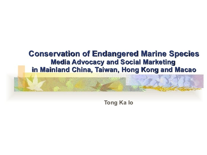 Conservation of Endangered Marine Species Media Advocacy and Social Marketing  in Mainland China, Taiwan, Hong Kong and Ma...