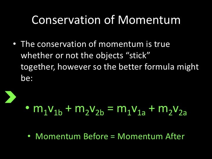 conservation of momentum Conservation of momentum, general law of physics according to which the  quantity called momentum that characterizes motion never changes.