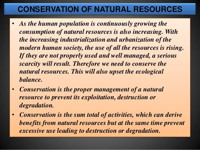 Protection of natural resources essay