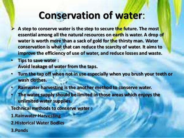 importance of water conservation essay Water conservation tips - how to conserve water at home - duration: 3:19 howdini 234,665 views · 3:19 · qnet: 10 ways to conserve water this world water day [2015] - duration: 1:45 qnet (official) 55,764 views · 1:45 60 natural resources like oil, forests and fresh water depleting problem solution.